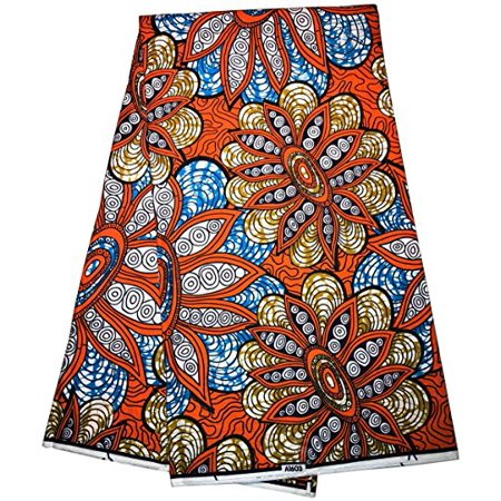 - Super African Batik Wax Fabric,ankara Fabric African Print cotton Material for sewing Fashion Dresses, 6 Yards for Sale