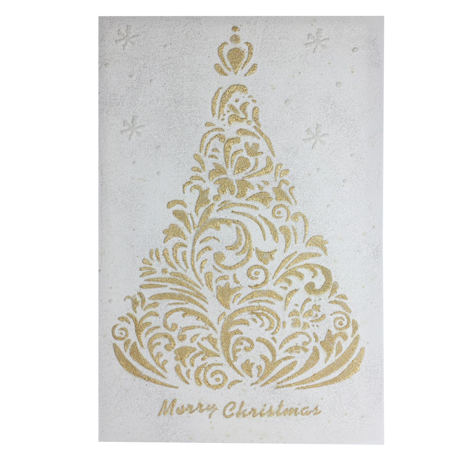 24 Gilded White Christmas Gold Glittered Tree Hanging Canvas Wall Art