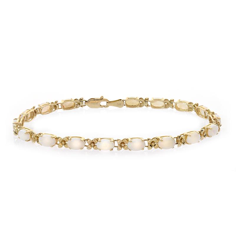 6.00 Carat Opal 14K Yellow Gold Flower Link Bracelet by