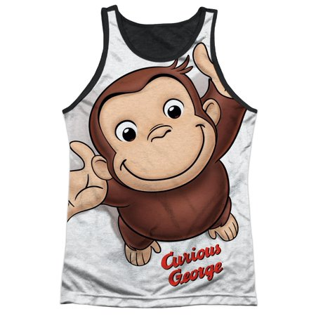 Curious George Books Cartoon Movie TV Monkey Hug Adult Black Back Tank Top Shirt (Adult Movie Tv)