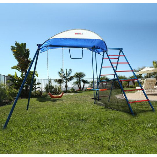IronKids Challenge 100 Metal Swing Set with Ladder Climber and UV Protective Sunshade
