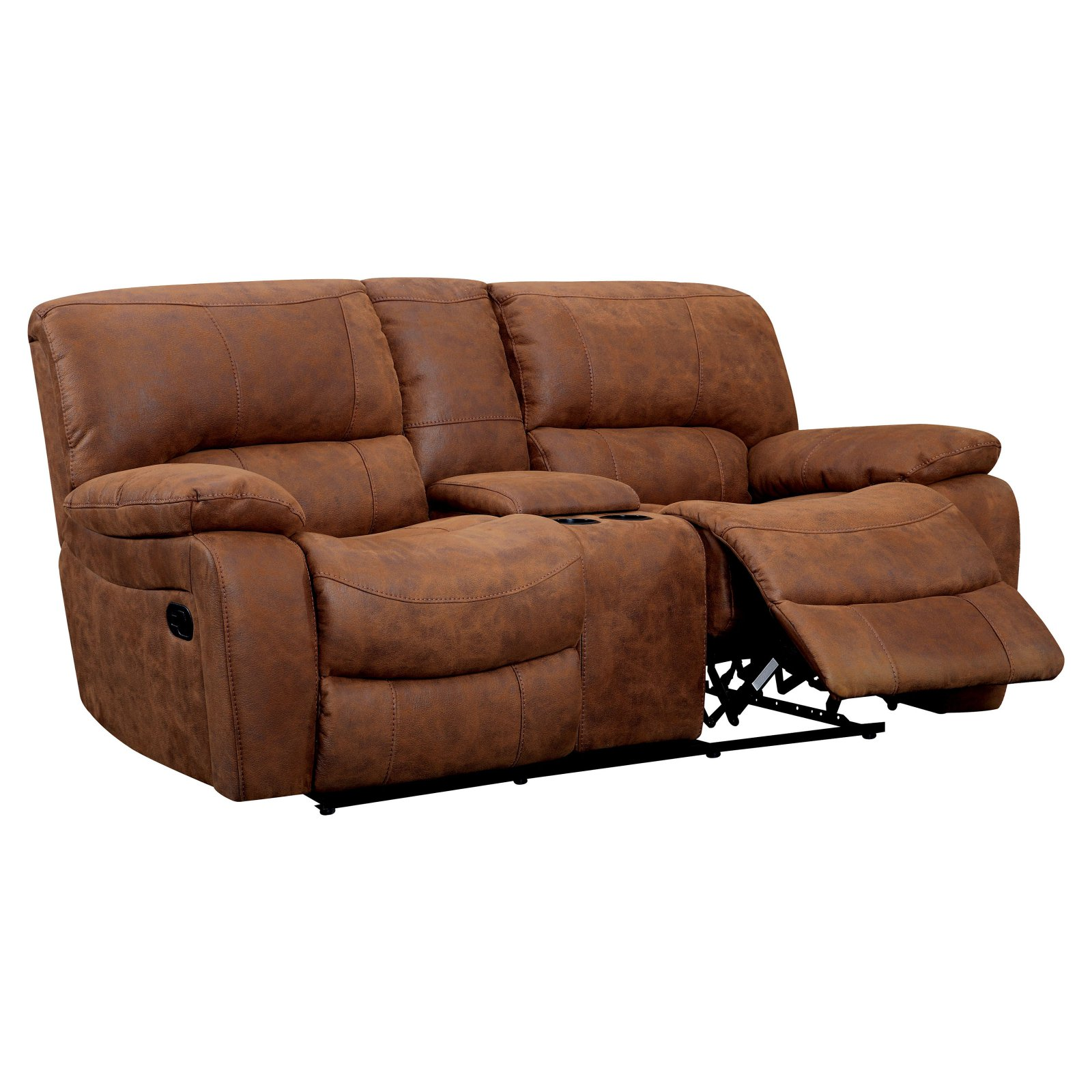 Furniture of America Lafrance Recliner Loveseat with Center Console