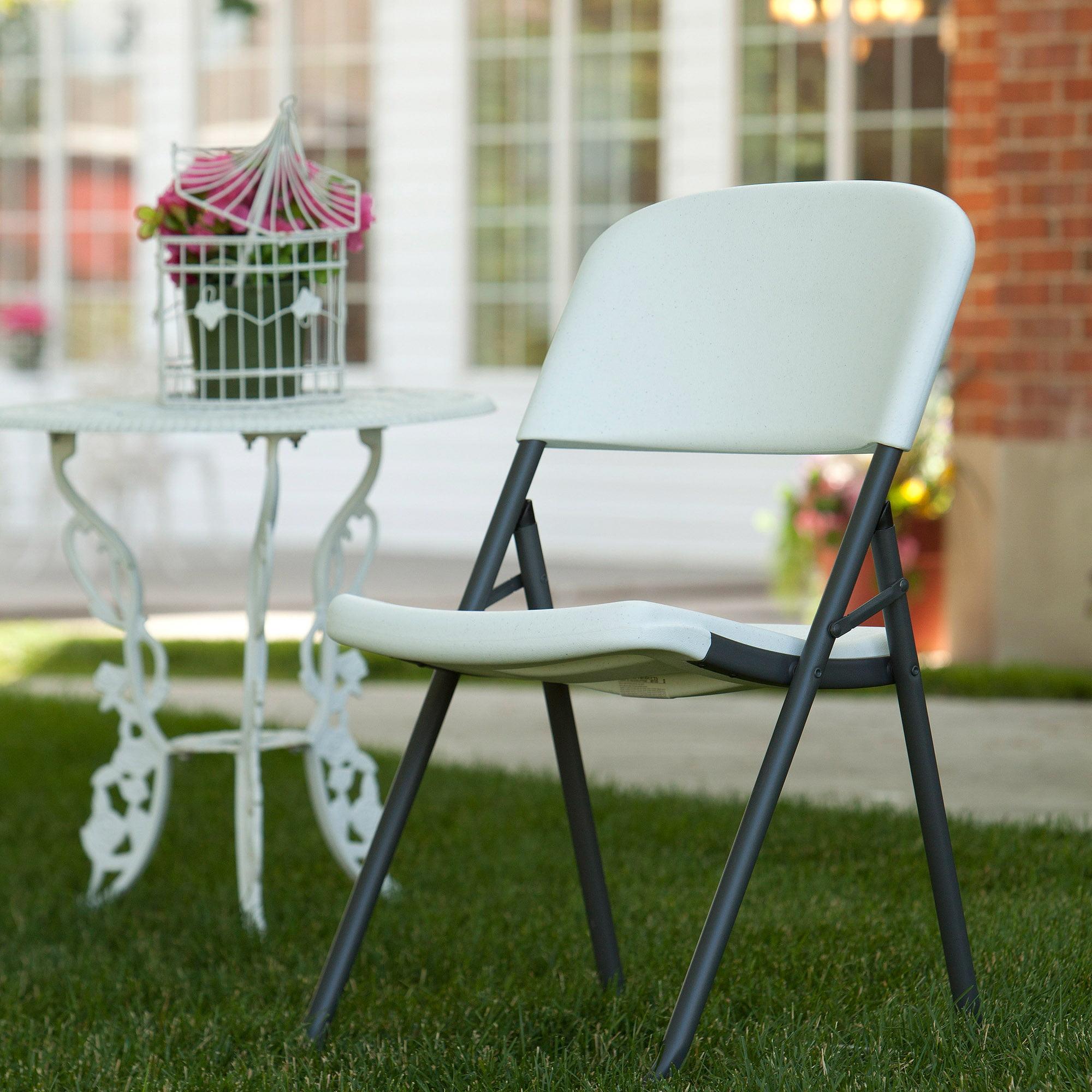 Lifetime Loop Leg Folding Chair Set of 4 White Granite Walmart