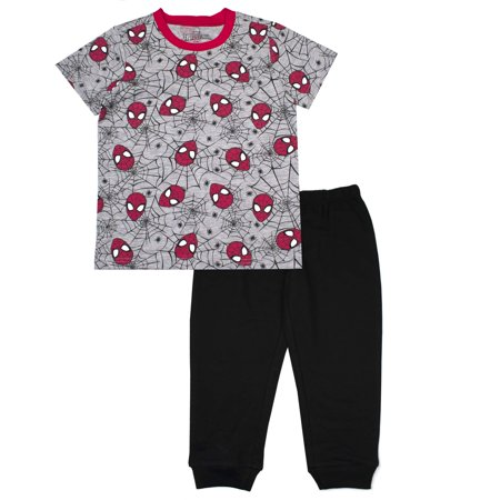 Spiderman Outfit 2 3 Years (Short Sleeve Spiderman Tee and French Terry Jogger, 2-Piece Outfit Set (Little)