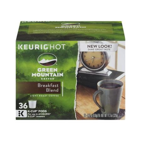 Green Mountain Coffee Breakfast Blend Light Roast Coffee K Cup Pods   36 Ct