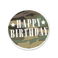 Happy Birthday Camoflage Edible Icing Image Cake Decoration Topper -1/4 Sheet