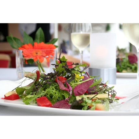 Canvas Print Restaurant Wild Herbs Salad Plate Eat Gastronomy Stretched Canvas 10 x (Top 10 Best Restaurant Salads)