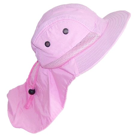 Kid/Child Wide Brim Mesh Summer Hat with Neck Flap (One Size) - Light Pink