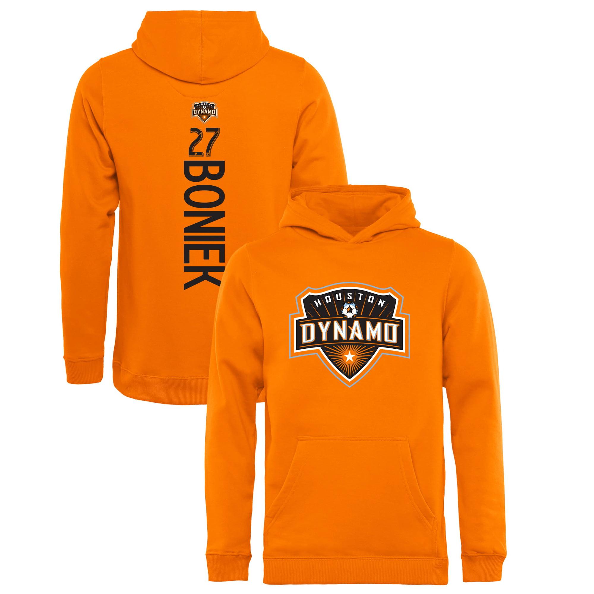 Boniek Garc-a Houston Dynamo Fanatics Branded Youth Backer Name & Number Pullover Hoodie - Orange