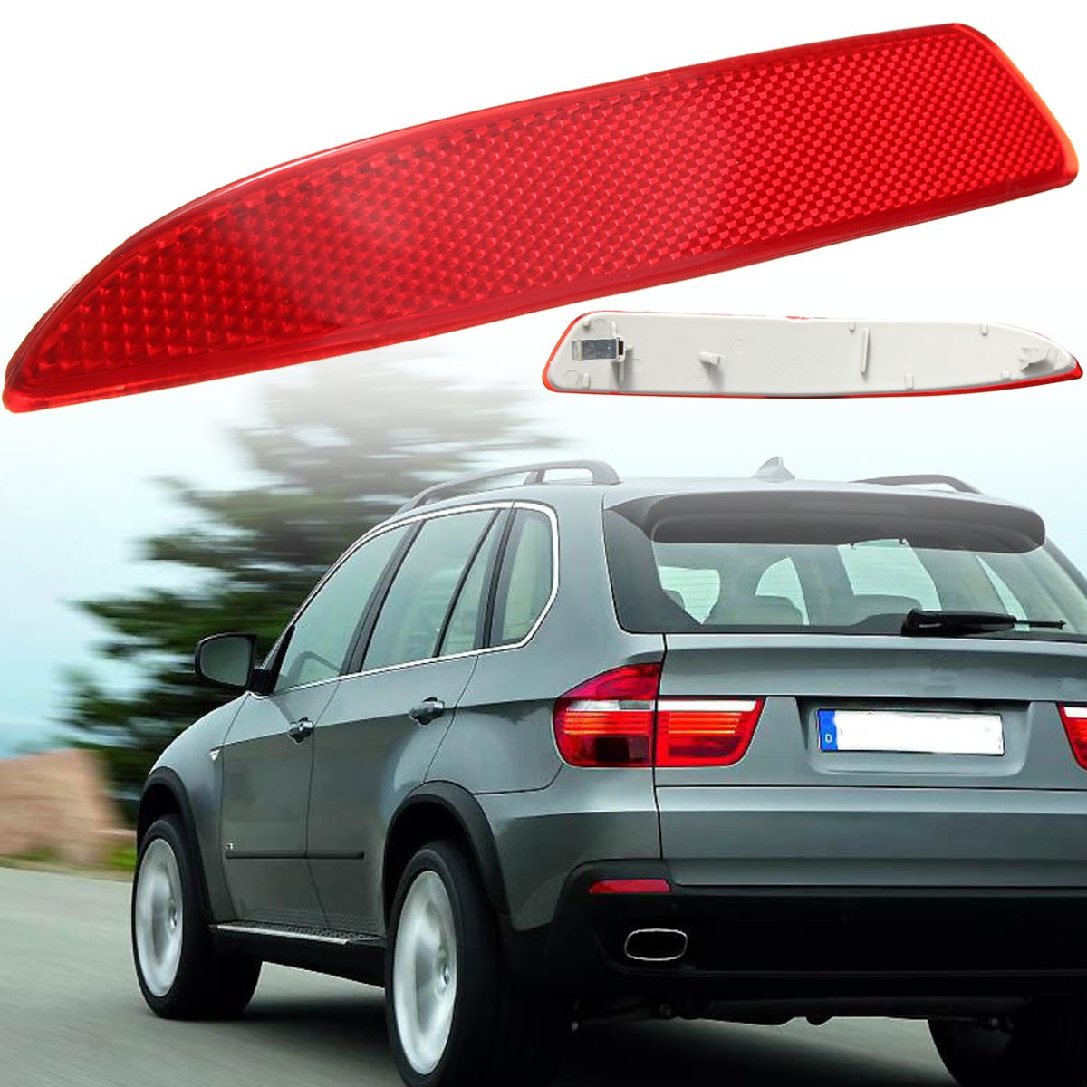 Right Passenger Side Rear Bumper Reflector Light Cover for BMW X5 E70 2007-2010