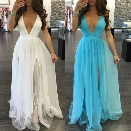 Women Summer Long Maxi BOHO Evening Party Dress Beach Dresses Sundress - image 1 de 5