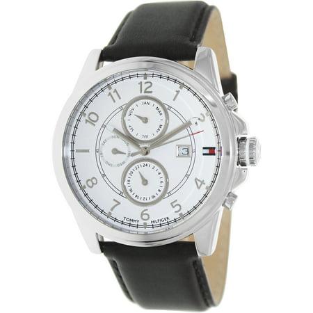 6d964947c Tommy Hilfiger - Men's 1710294 White Leather Analog Quartz Fashion Watch -  Walmart.com
