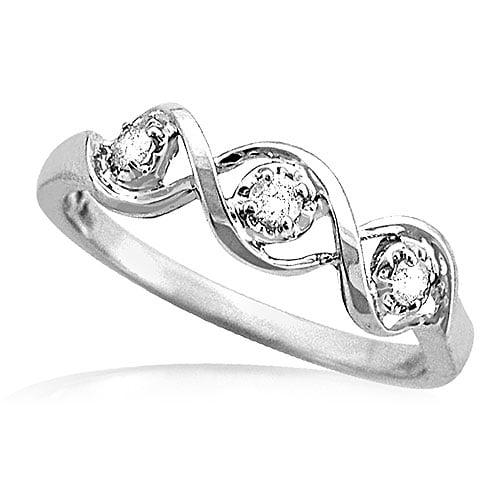 1/8 Carat Diamond Swirl Ring in White Gold