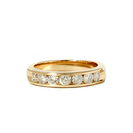 14k Yellow Gold 1ct Genuine Round Diamond Brilliant Cut Solitaire Channel Set