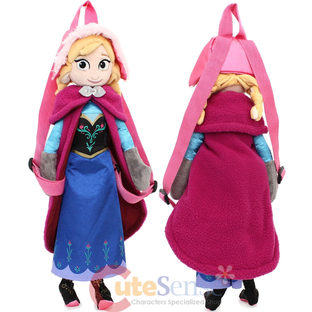 "Disney Frozen Anna Plush Doll Backpack Snow Queen Anna Sister 18"" Costume Bag"
