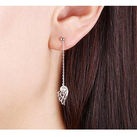 Angel Wings 0.10 Carat Round Brilliant Real Diamond Drop Stud Earrings in 14k White Gold - image 2 of 2