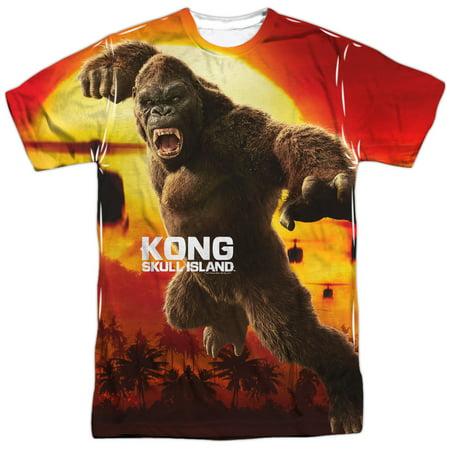 Kong Skull Island Kong Attacks  Front Back Print  Mens Sublimation Polyester Shirt