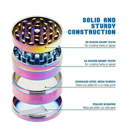 25 Pack of Herb Grinder Wholesale Lot Supply of Titanium Alloy 4 Piece  Spice Grinder Multi-Compartment Grinder Crusher Tobacco Grinder Rainbow