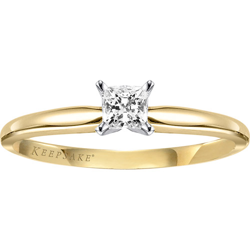 Keepsake Timeless 1/5 Carat Princess-Cut Diamond Solitaire Ring in 10kt Yellow Gold