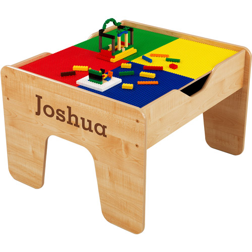 KidKraft - Personalized 2-in-1 Activity Table, Brown Serif Font Boy's Name, Joshua