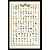 Pokemon - Kanto Grid Laminated & Framed Poster Print (22 x 34)