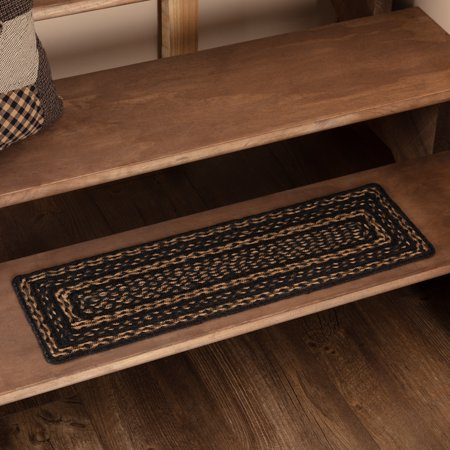 Country Black Primitive Flooring Black Stencil Star Jute Latex Backing Rectangle Stair Tread