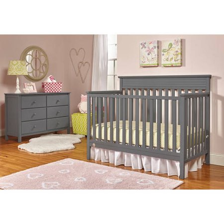 Fisher-Price Newbury 4-in-1 Convertible Crib and Guardrail Bundle ()