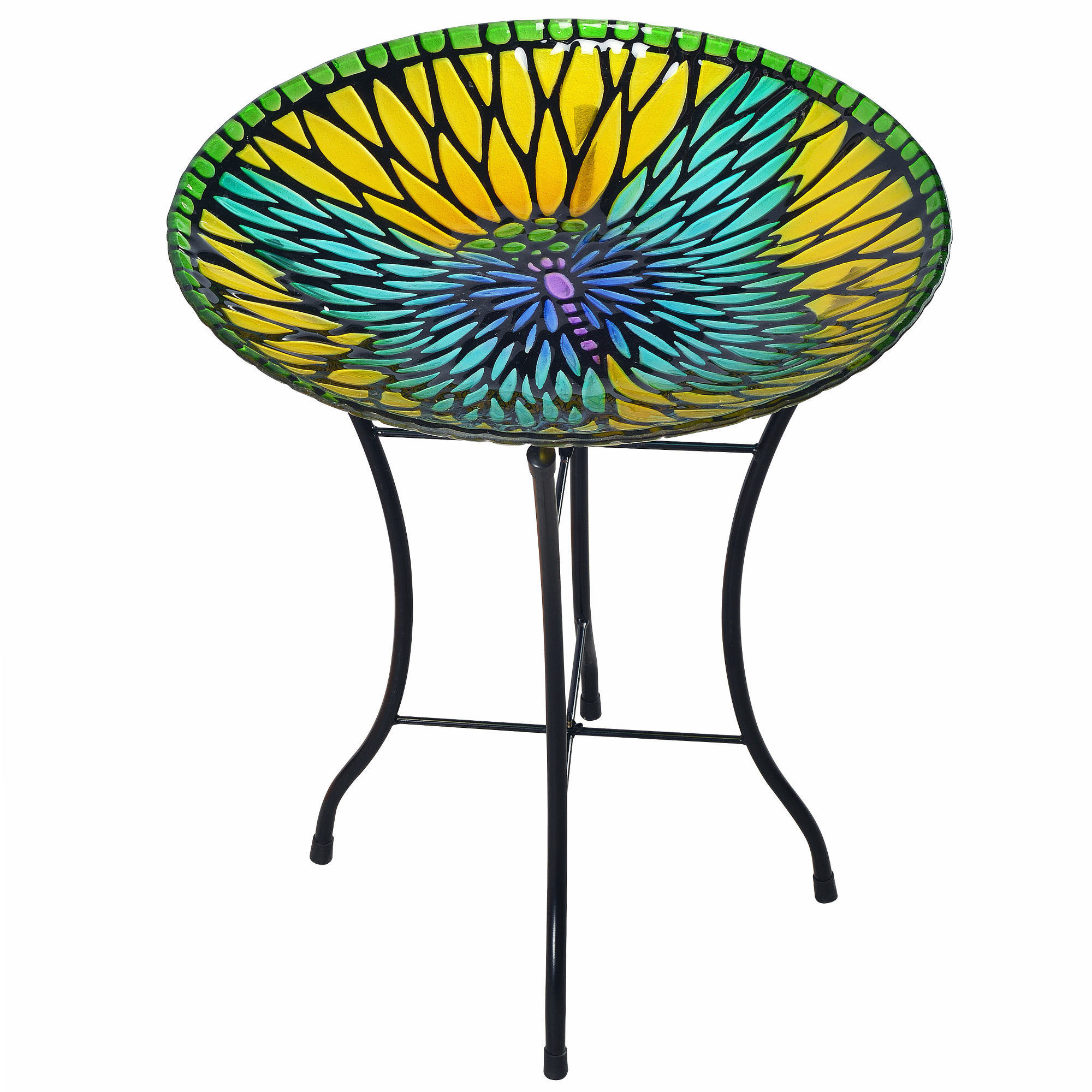 Peaktop Outdoor 18-Inch Mosaic Butterfly Fusion Glass Birdbath w  Stand by Teamson Design Corp.