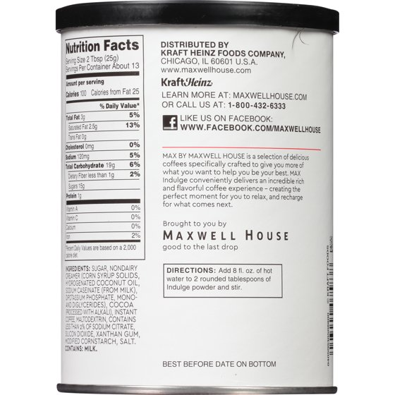 Max Indulge By Maxwell House Mocha Coffee Drink Mix , Caffeinated