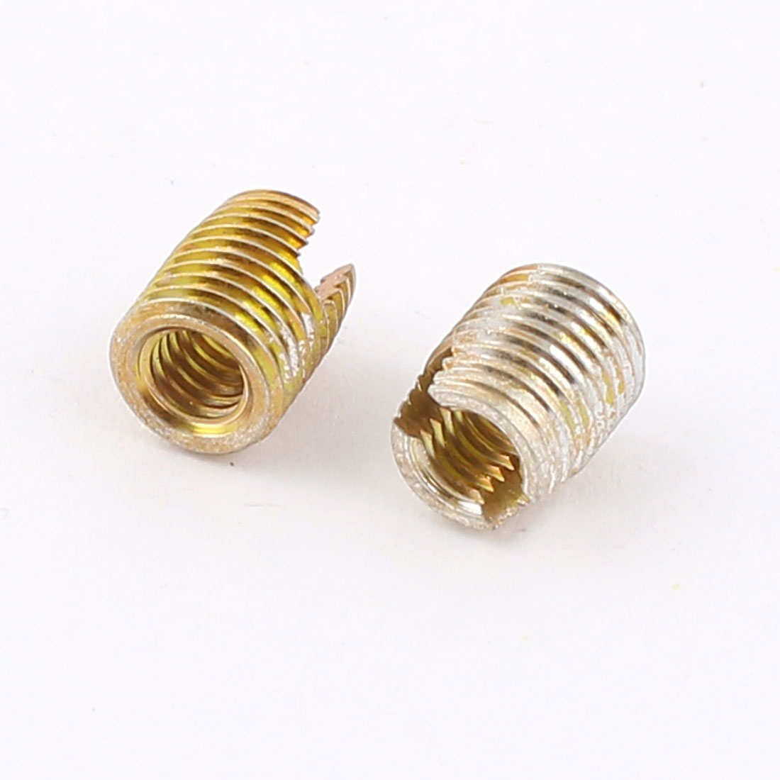 Unique Bargains 2 Pcs Brass Tone 8mm x 6mm x 3.4mm Self Tapping Threaded Inserts