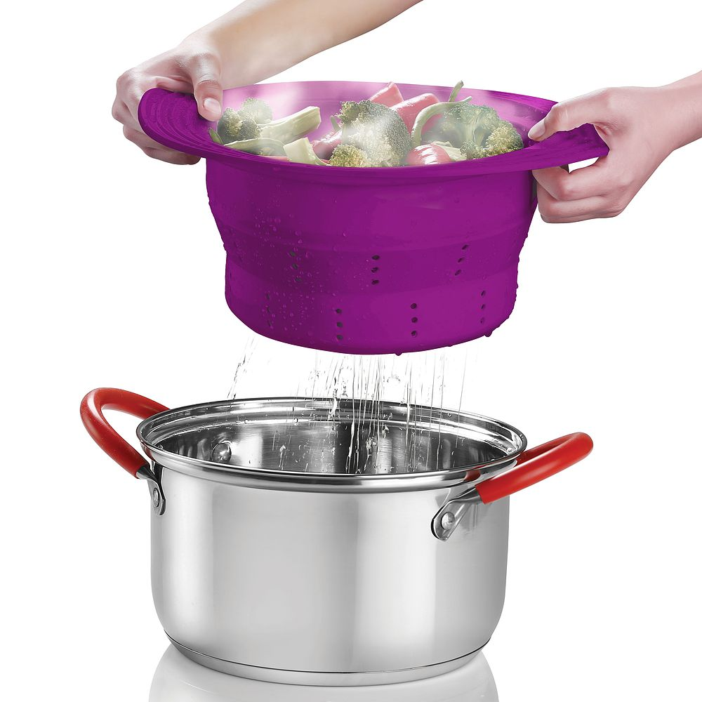 Click here to buy INNOKA Silicone Collapsible Fruit Vegetable Colander Strainer Purple by INNOKA.