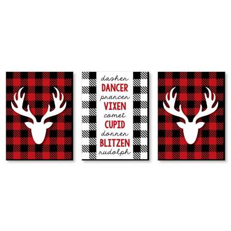 "Prancing Plaid - Reindeer Wall Art and Buffalo Plaid Christmas Decor - 7.5"" x 10"" - Set of 3 Prints"