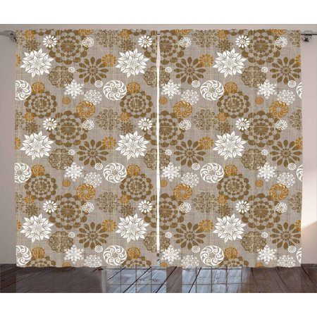 - Floral Curtains 2 Panels Set, Ornamental Flower Design Various Color Combinations Styles Diagonal Pattern, Window Drapes for Living Room Bedroom, 108W X 96L Inches, Sepia Amber Grey, by Ambesonne