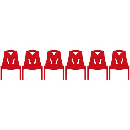 2xhome - Set of Six (6) - Red - Kids Size Plastic Side Chair 10