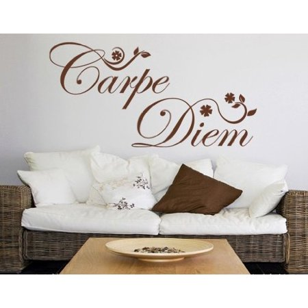 Carpe Diem Quote with Flowers Wall Decal Wall Sticker Vinyl Wall Art H