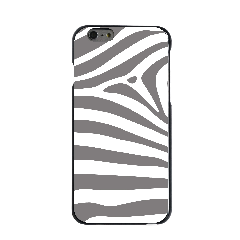 "CUSTOM Black Hard Plastic Snap-On Case for Apple iPhone 6 / 6S (4.7"" Screen) - Grey & White Zebra Skin Stripes"