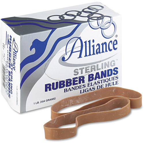 Alliance Sterling Ergonomically Correct Rubber Bands, #107, 7 x 5/8, 50/Box