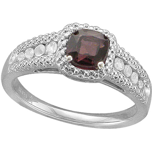 1.58 Carat T.G.W. Brazilian Garnet and White Sapphire Fashion Ring in Sterling Silver