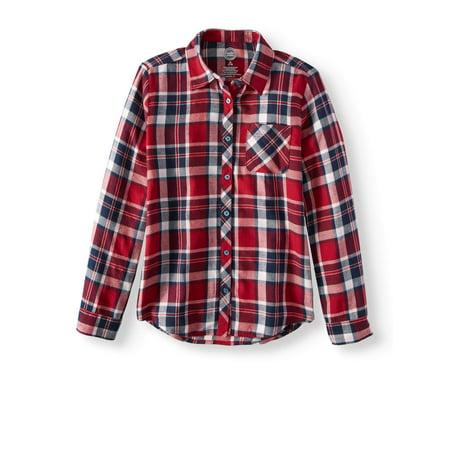f1655a976 Wonder Nation - Plaid Flannel Button Down Shirt (Little Girls & Big Girls)  - Walmart.com