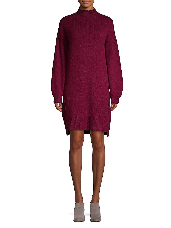 Balloon-Sleeve Cashmere Dress