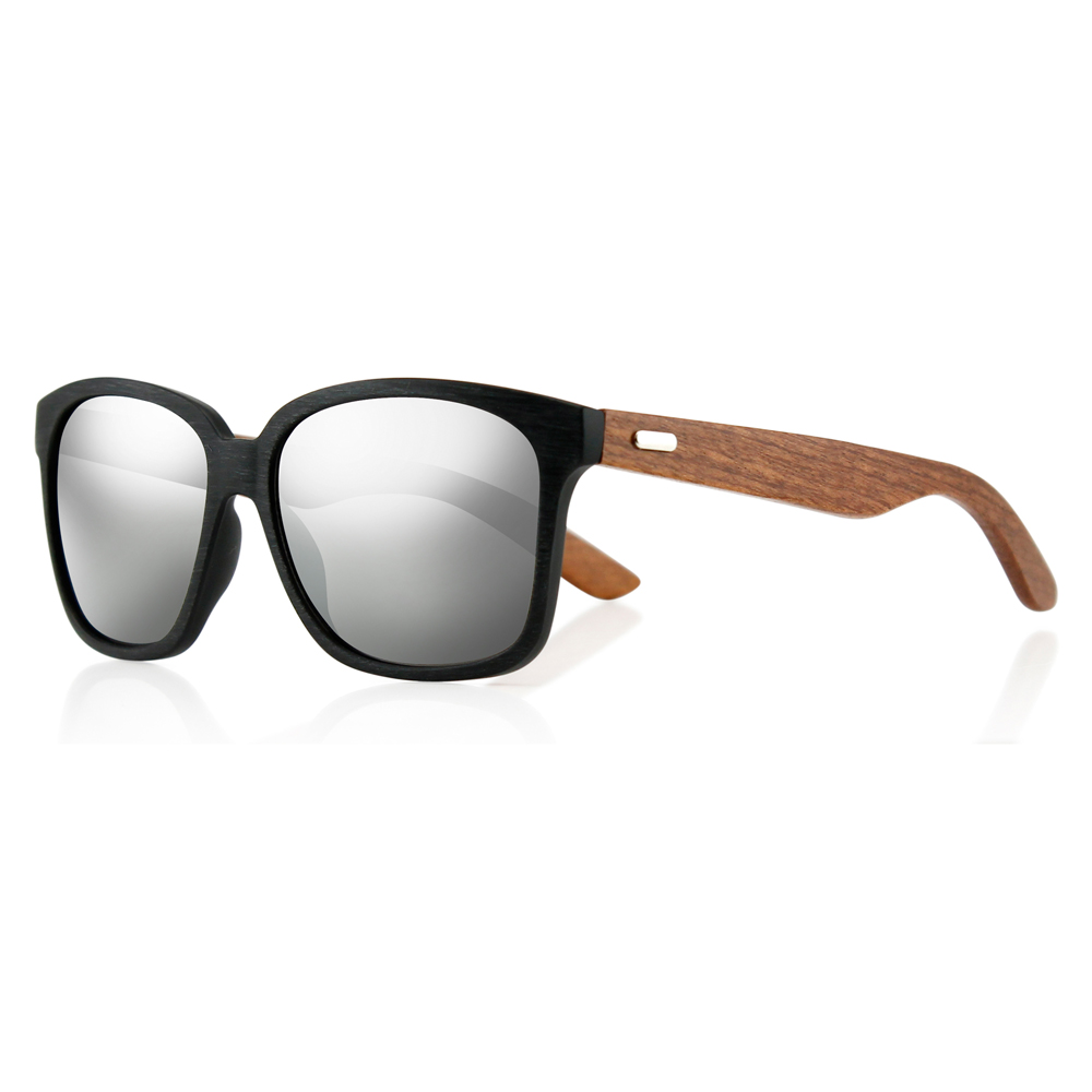 14b97eee7f Gearonic - Classic Eyewear Vintage Square Retro Bamboo Wood Wooden  Sunglasses Black Frame with Blue Lens - Walmart.com