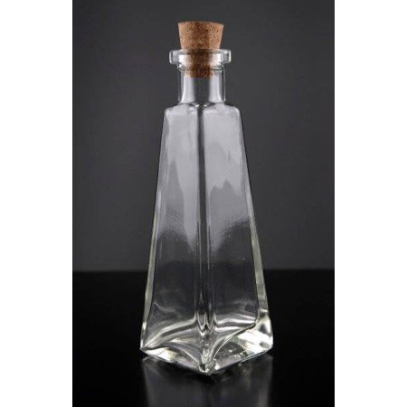 dd4f8f580340 Clear Glass 6 oz. Pyramid Glass Bottles 178Ml Cork Tops Included Width 2  1/4in. Depth 2 1/4in. Height 6 3/4in.
