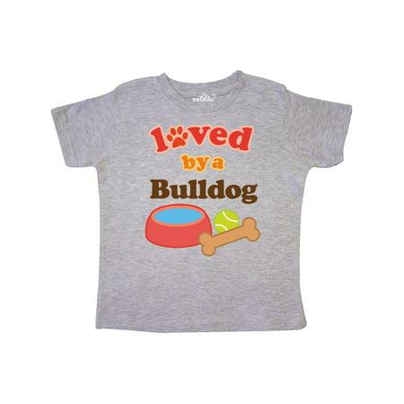 Bulldog Loved By A (Dog Breed) Toddler T-Shirt (American Bulldog Dog Shoes)