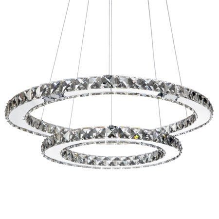 Best Choice Products 2-Ring Crystal Eclipse Modern LED Pendant Chandelier Dining Room Ceiling Light Fixture, Silver ()