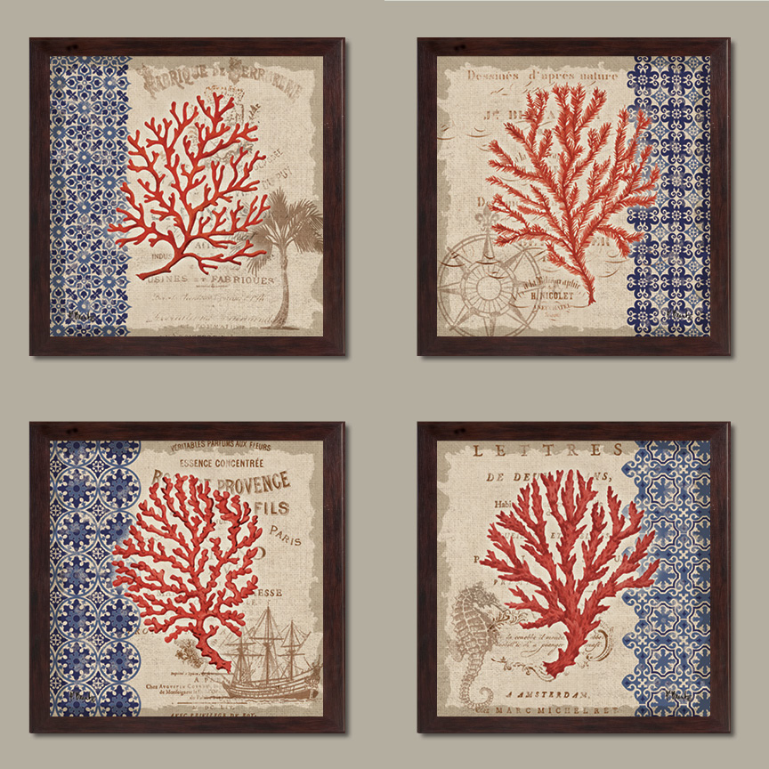 Red Tan and Blue Coral Collage Art, Coastal Decor; Four 12 by 12-Inch Brown Framed Prints Ready to hang! Blue/Brown/Green