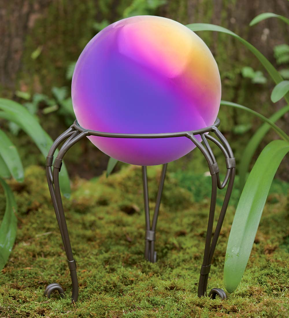Rainbow Steel Gazing Ball with Metal Stand by Problem Solvers
