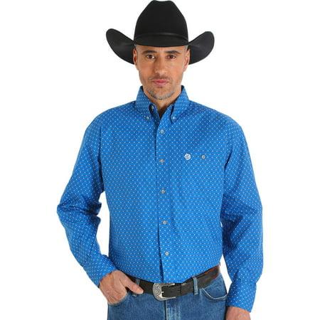 9fd4c50da Wrangler - Men's George Strait Blue Printed Poplin Button Shirt ...
