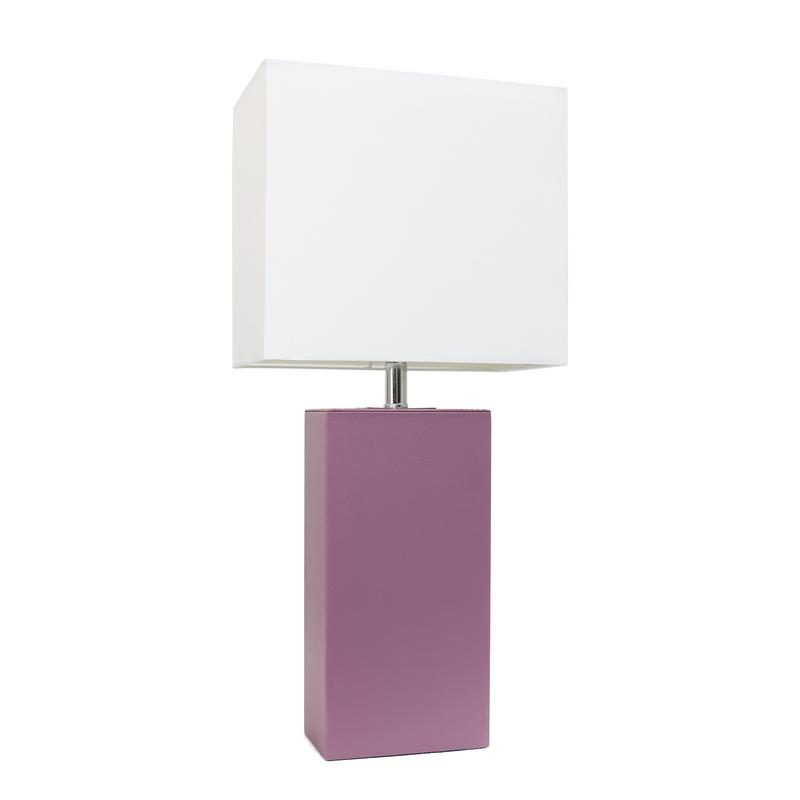 Elegant Designs Modern Leather Table Lamp with White Shade, Purple Base