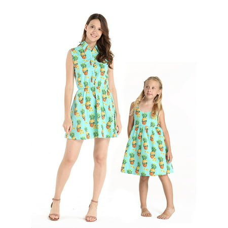 Matching Baby And Mom Halloween Costume (Matching Hawaiian Luau Mother Daughter Shirt Dresses in Halloween Pineapple Skull)