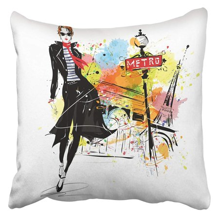 Makeup Sketch (CMFUN Vintage Girl in Sketch Style Grunge Paris Makeup Abstract Adult Attractive Autumn Pillowcase Cushion Cover 18x18)